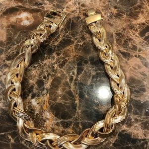 Vintage Givenchy Gold Toned Metal Braided Necklace